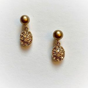 VTG Monet Gold Tone Faux Pearl Rhinestone Earrings